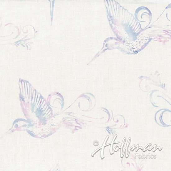 Hoffman Bail Batik Q2149-417 Rosehips White with Hummingbird