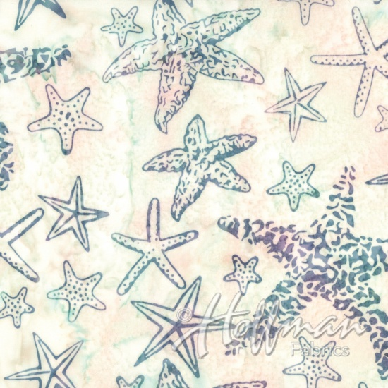 Bali Batik-Starfish From the Depths White Purple Green Blue