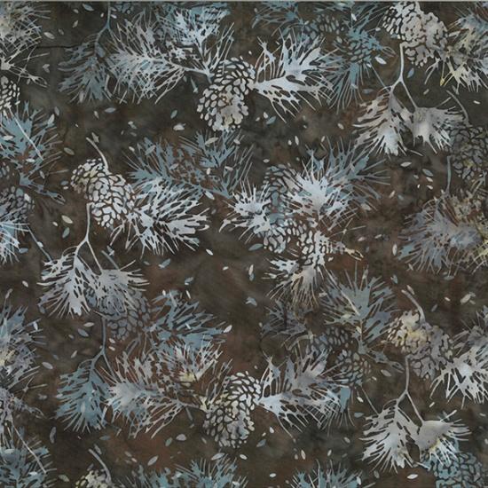 Hoffman Bali BatikR2205-514-Brown Sugar Pinecones on Brown