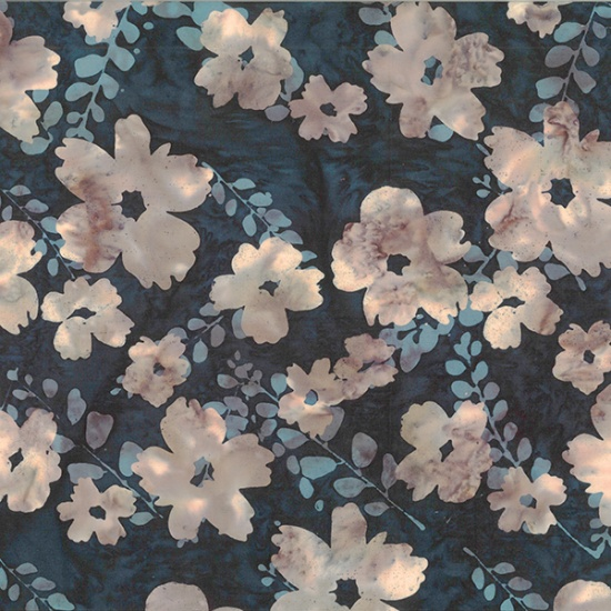 Hoffman Bali Batik R2222-346-Huckleberry Flowers on Black