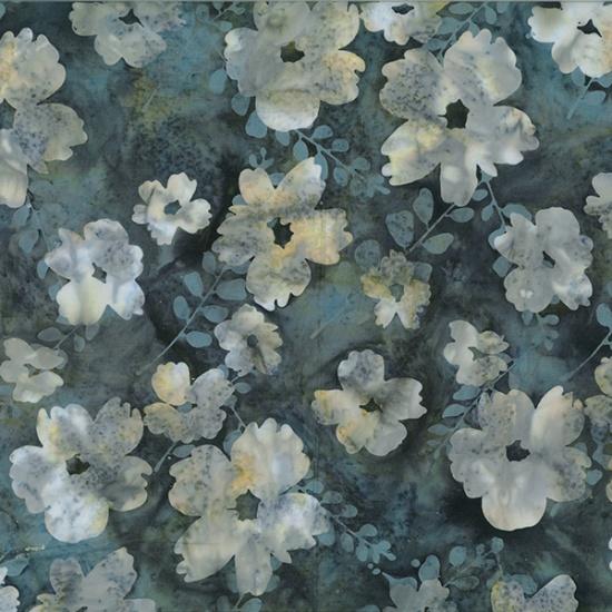 Hoffman Bali Batik R2222-92-Slate Flowers on Gray