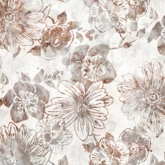 Hoffman Bali Batik R2229-54-Rosewood Flowers on White