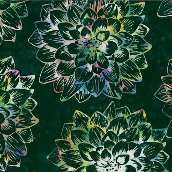 R2270-702 Deep Emerald Single Dream Flower Forest Floor Bali Batik Hoffman