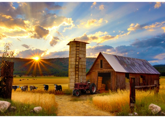 Hoffman R4689 83 Barn Red Sun Up to Sun Down PANEL