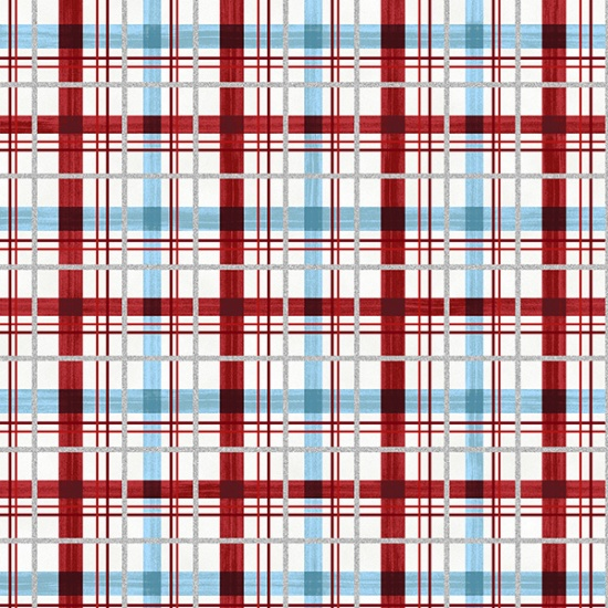 Candy Cane Lane Red-Silver-Blue Plaid