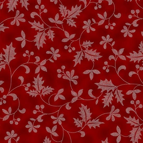 Hoffman Winter Blooms R7671-231S-Garnet-Silver  Holly Leaves