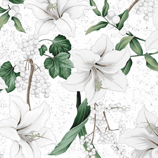 Winter Blooms White/Silver (R7673-3S)