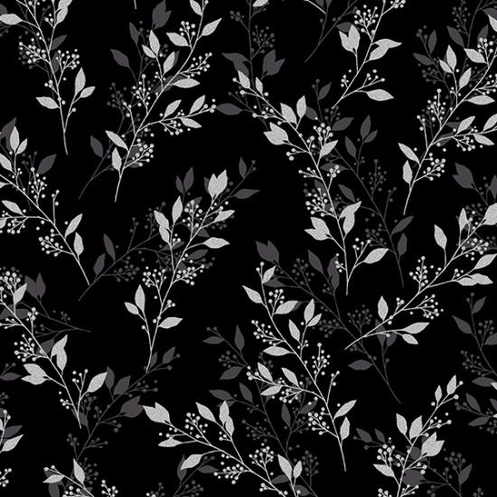 Black-Silver Sparkle+Fade - Leaves