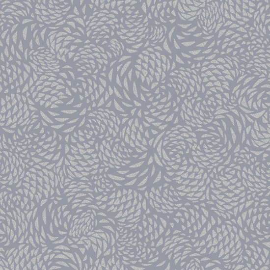 Packed Silver Metallic Pinecones on Pewter Gray:  Sparkle and Fade by Hoffman