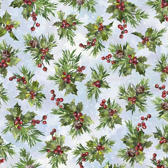 S4708-132 Opal - Snowy Holly | Winter Wonder |  Hoffman Spectrum Digital Print