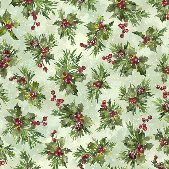S4708-74 Mint - Snowy Holly | Winter Wonder |  Hoffman Spectrum Digital Print