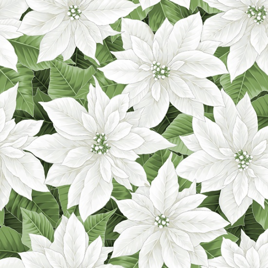 White-Silver Poinsettia Holiday Decadence by Hoffman California Fabrics