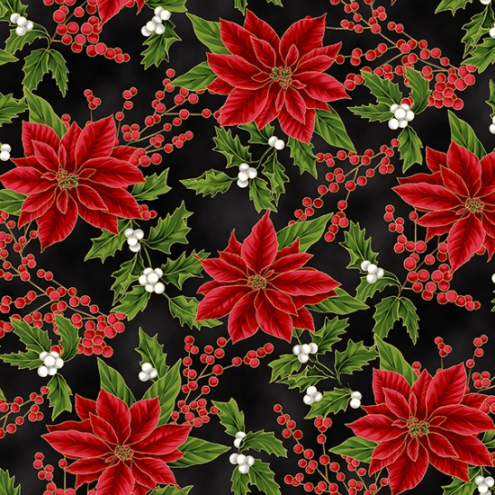 HOFF- Holiday Decadence Red Poinsettias w/Holly On Black