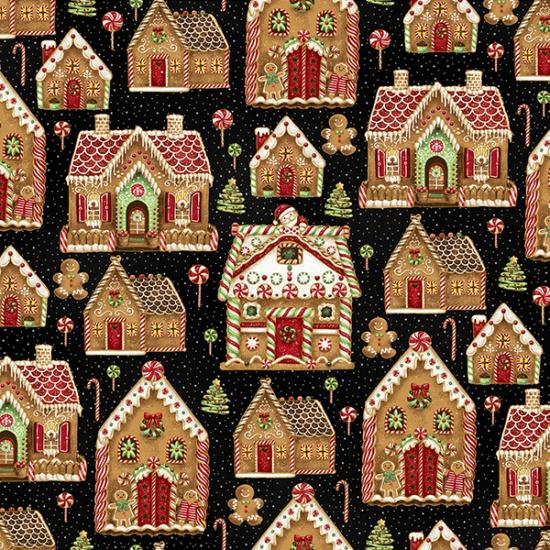 Hoffman Fabrics Santa's Sweets S7718-4G-Black-Gold