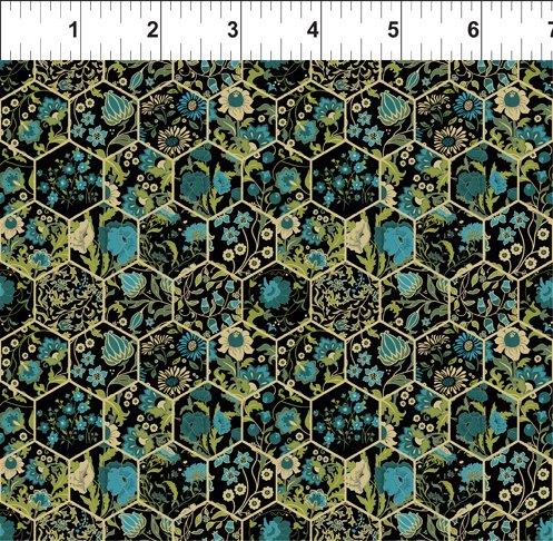 ITB Garden Delights III Teal Hexagons