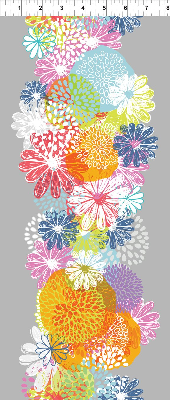 Doodle Blossoms - Flower Border - Multi 1db-1