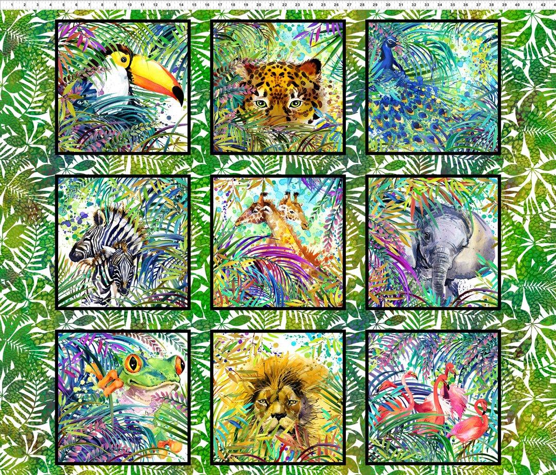 Safari Fabric Block Panel - Multi Safari Collection by In the Beginning Fabrics