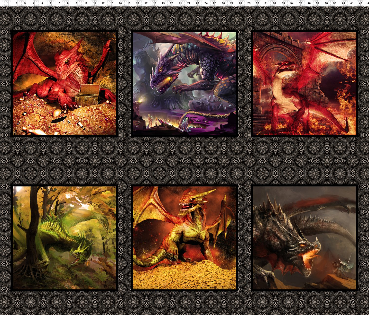 Small Dragon Panel Squares 36 inches