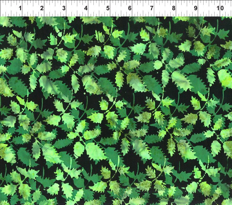 Green Leaves on Black - Floragraphix Batiks IV by Jason Yenter for In The Beginning Fabrics