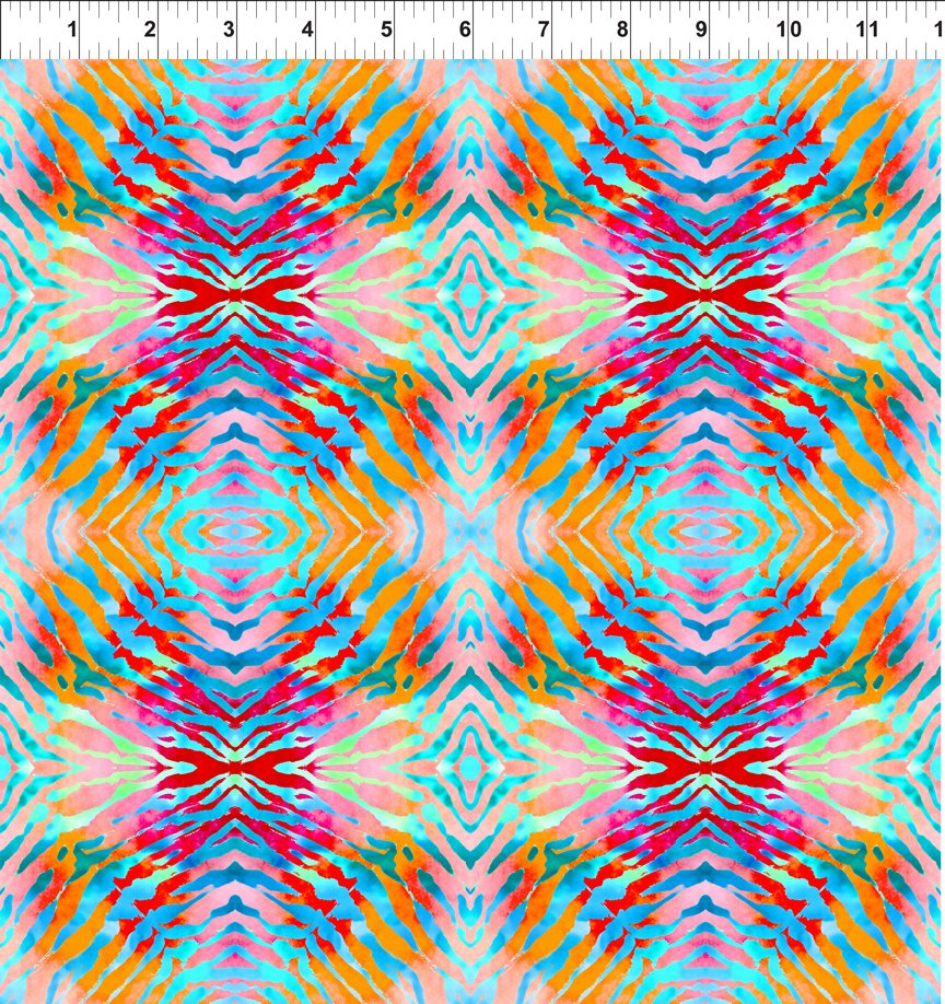 SPECIALTY FABRICS ROOM:  Tie Die in Pink, Blue-Green and Orange - Safari by In The Beginning Fabrics