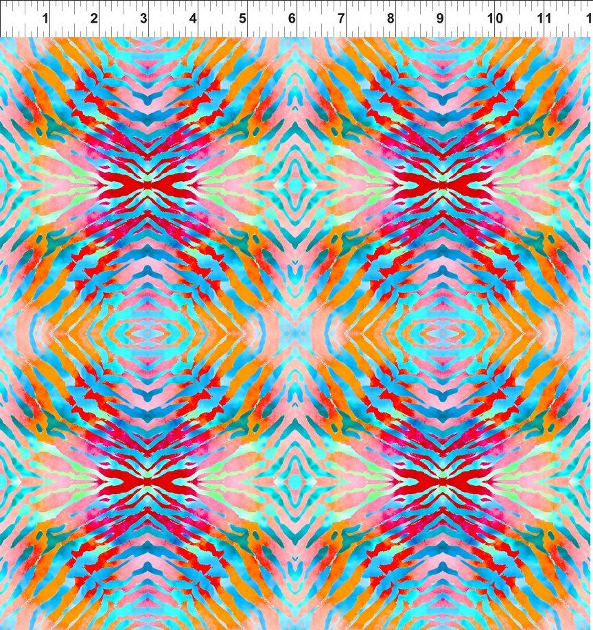 Safari Tie Dye, Pink/Orange 3SAF 3