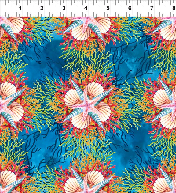 Shells and Starfish on Blue:  Calypso by Jason Yenter for In the Beginning Fabrics