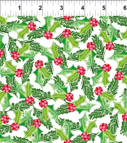 Holly Green on White - Joy Peace and Love Digital Print