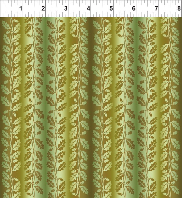 Fall Leaves Stripe in Green and Brown: Our Autumn Friends by In The Beginning Fabrics