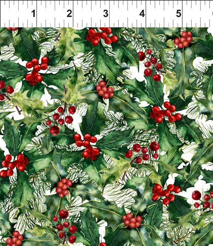 A Poinsettia Winter-Holly Berries-Red/Green 5APW 1