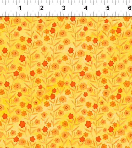 Floral Menagerie -orange flowers & leaves