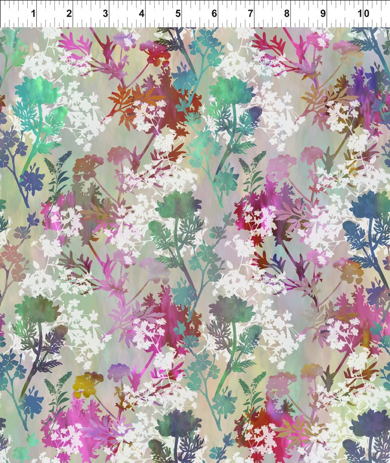 Garden of Dreams-Sprigs Teal/Pink Meadow 5JYL 4