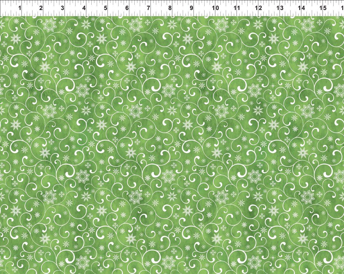 A Poinsettia Winter-Snow Swirls-Green 8APW 1