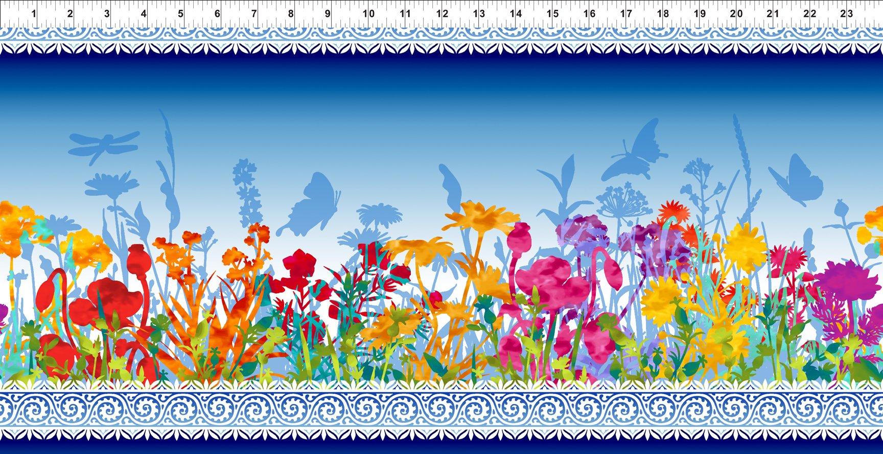 Dreamscapes Border Print Blue
