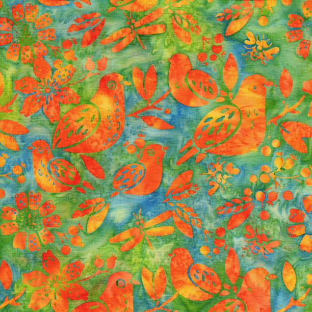 Island Batiks Mixed Birds Cool Waters