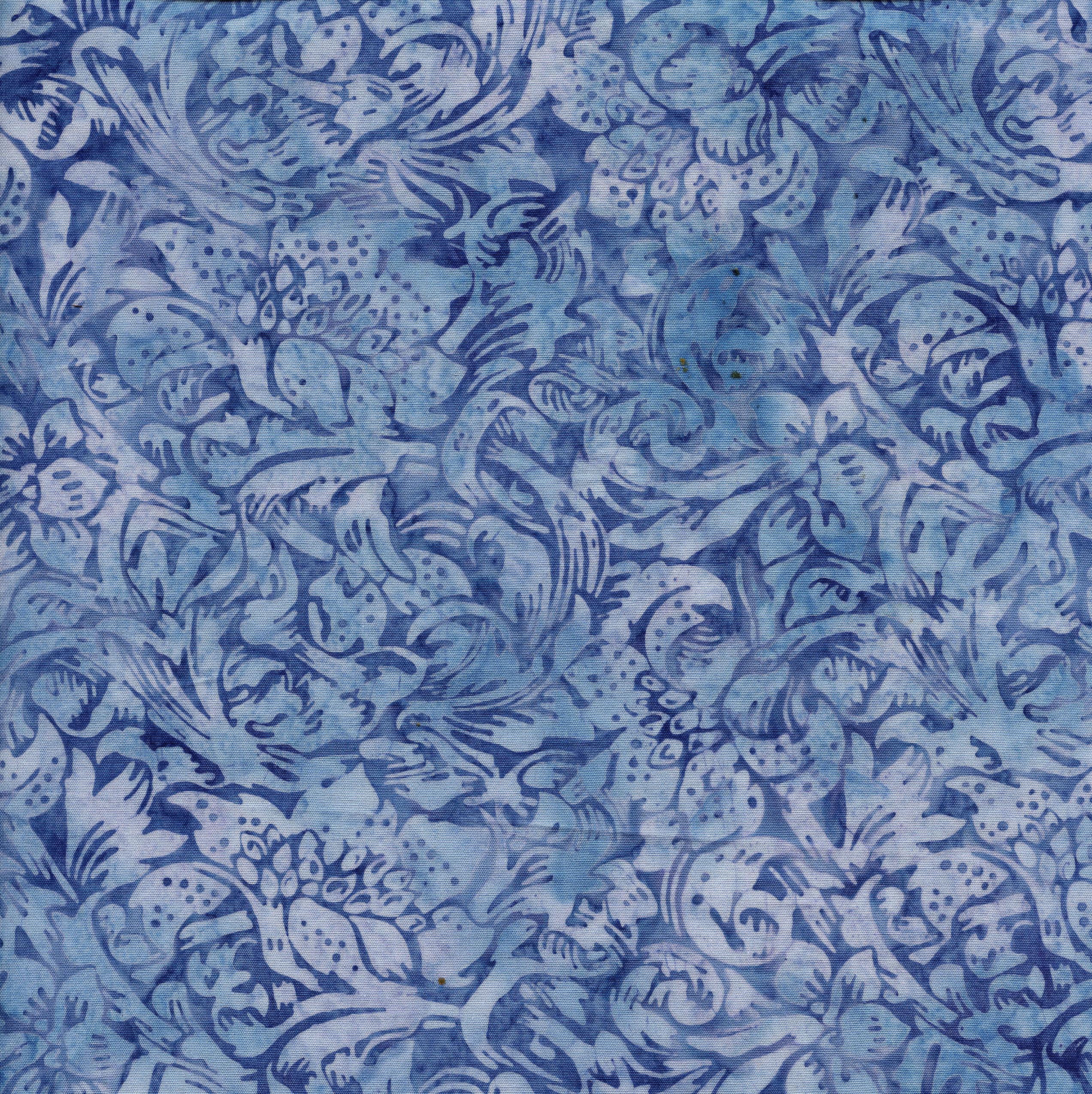 Island Batik Large Floral Vine - Periwinkle