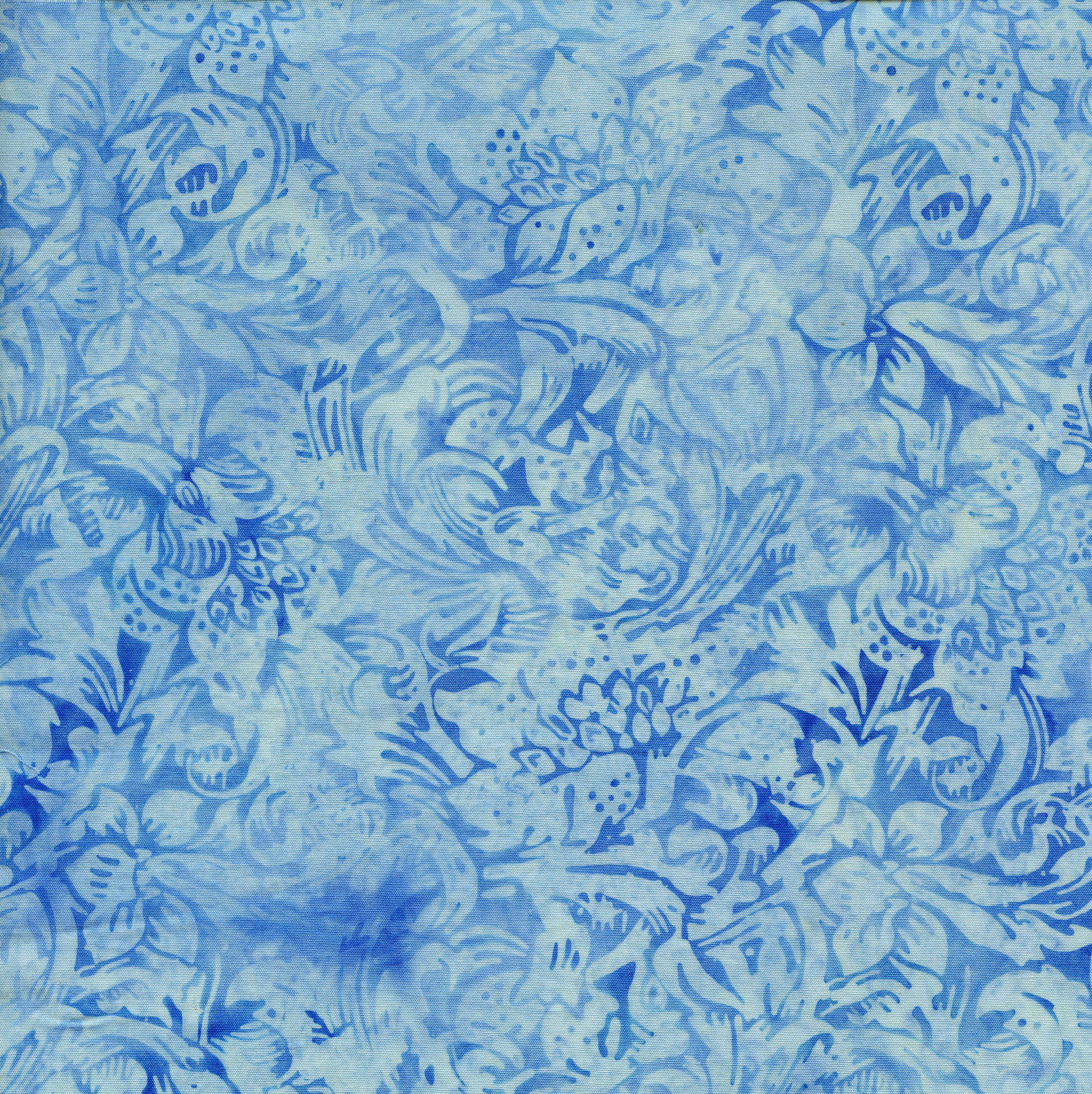Island Batik LG Floral Vine-French Blue
