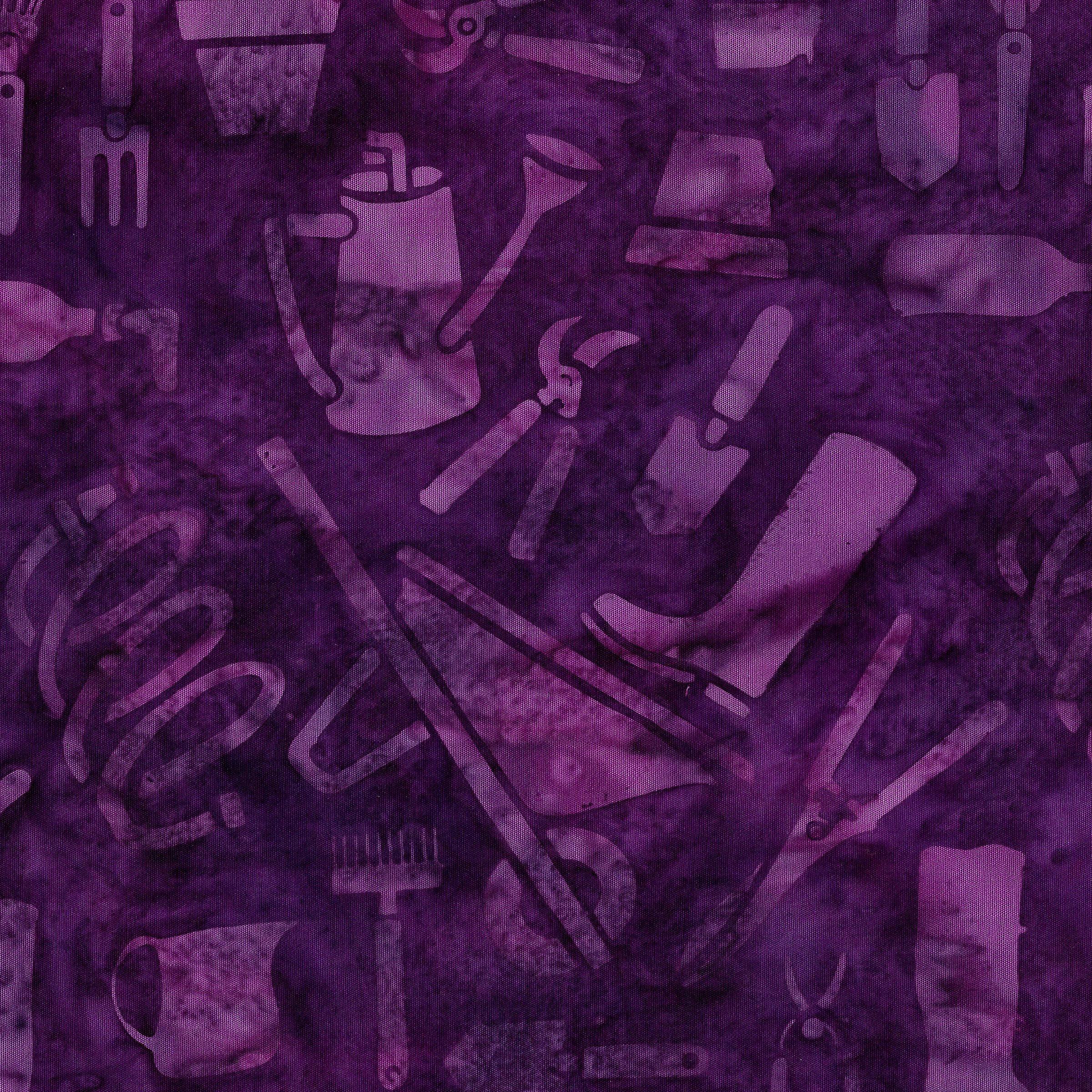 Petal Pushers - Garden Tools, Grape Juice - by Kathy Engle for Island Batik