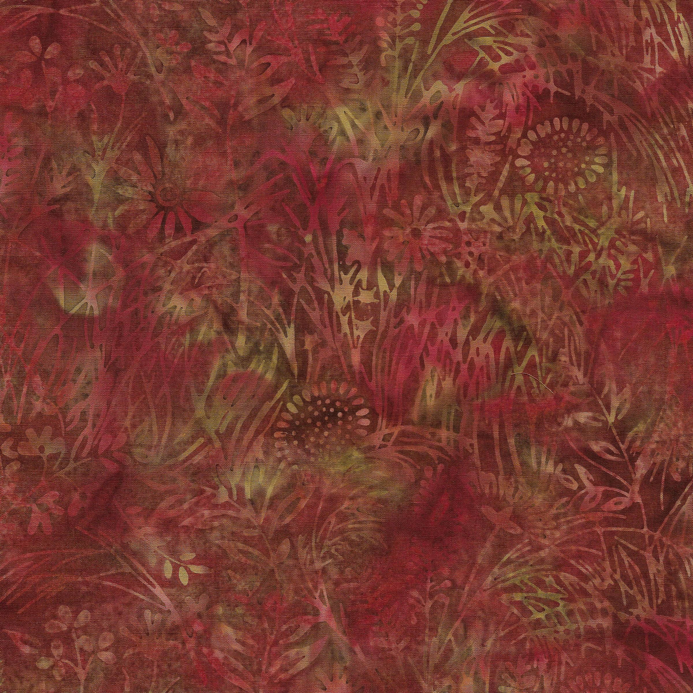Petal Pushers - Wildflowers, Paprika - by Kathy Engle for Island Batik