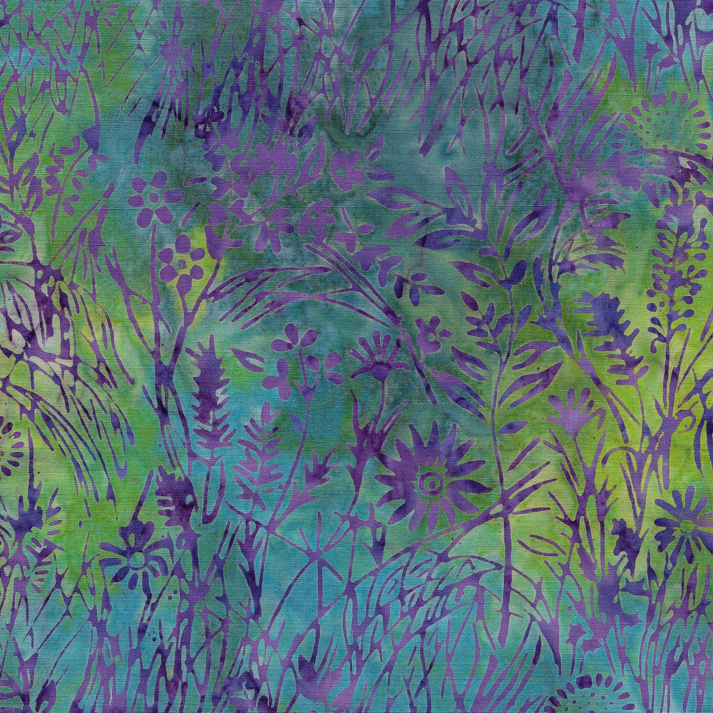 IB- WIldflower-Parakeet Purple/Green Batik
