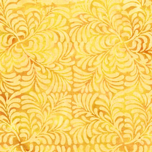 ISLAND BATIK 112024140 / 4 Squared Leaves-Daffodil