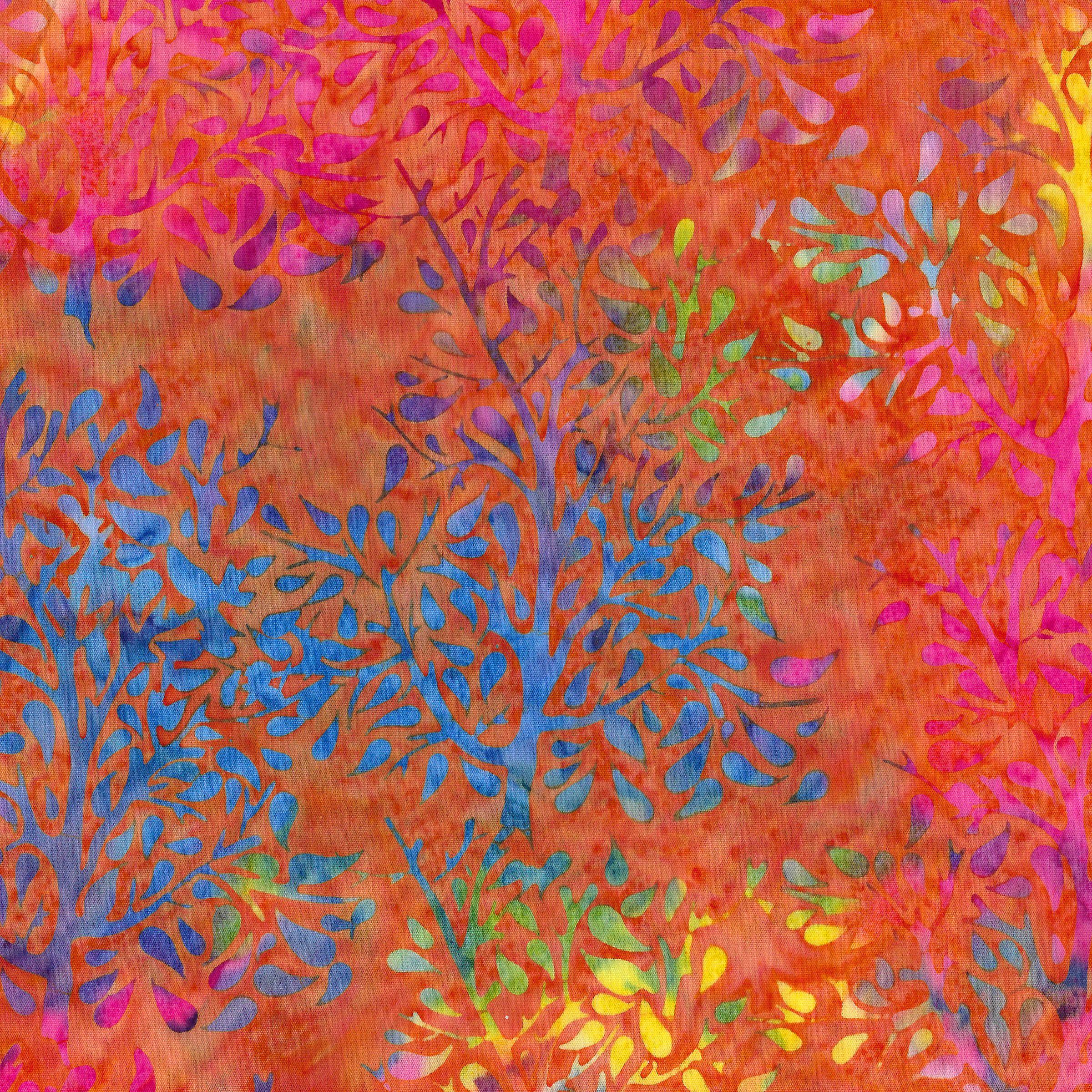 Island Batik -  Paisley Tree -Pumpkin