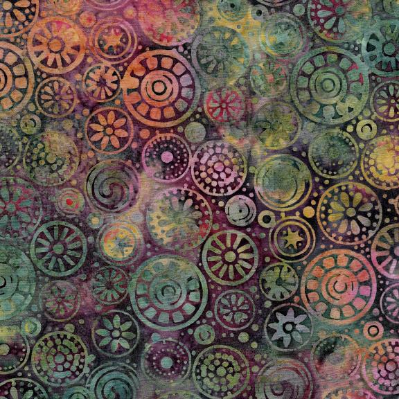 Island Batiks / Beads-Beaujolais Multi colors