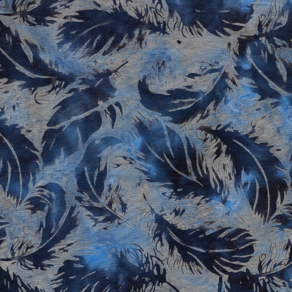 Batik - Tossed Feather-Blue Heather