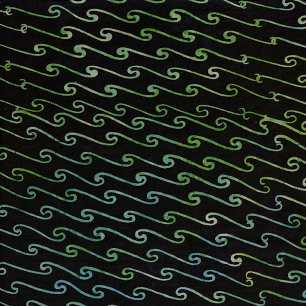 Scroll Wave Batik Fat Quarter - Black Ocean Odyssey Collection by Island Batik Fabrics