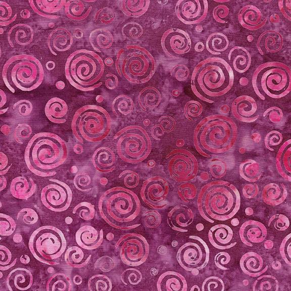 Island Batik Swirls -Raspberry