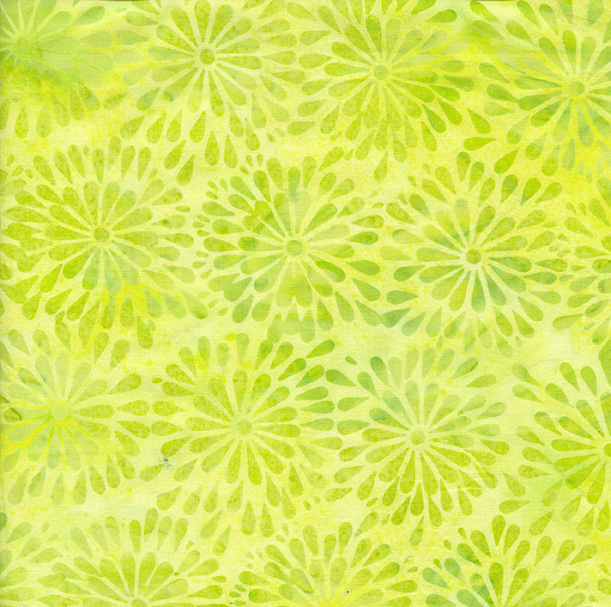 Batik Blenders - BE34-G1 / Round Petal Floral-Lemon Lime