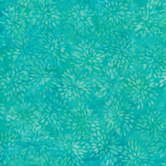 Batik Blenders - BE36-D1 / Small Pointed Floral-Turquoise