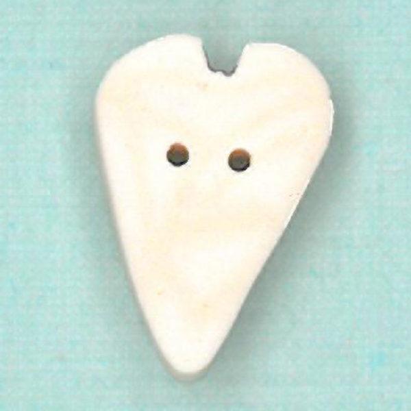 Button JAB Heart White Velvet Medium