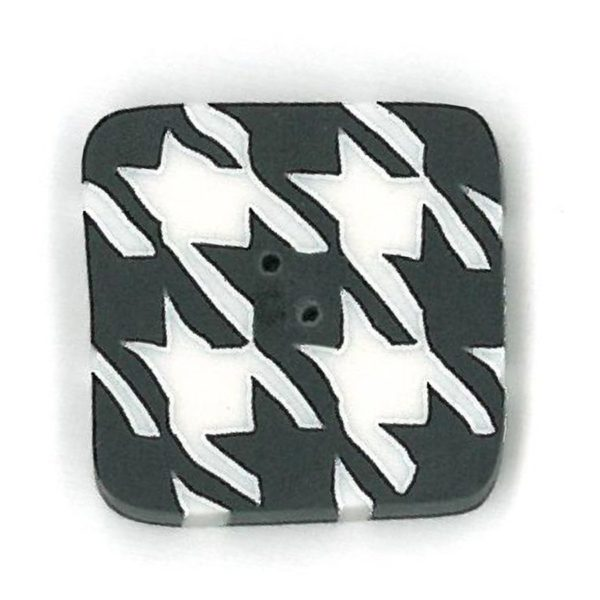 Button - JAB  Houndstooth Square Black Small