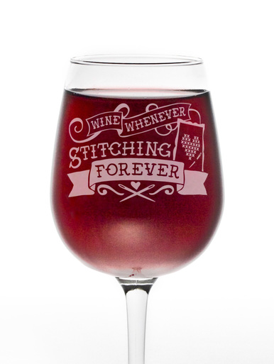 Wine Glass - Stitch Happy Stitching Forever Stem Glass